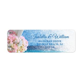 Etiqueta Endereço floral elegante do casamento do verão da