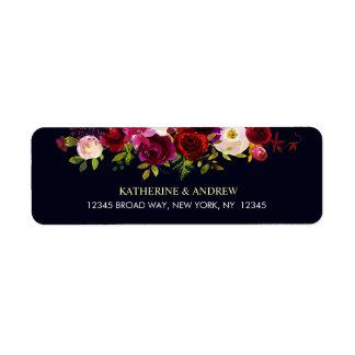 Etiqueta Endereço floral rústico de Borgonha Marsala Boho