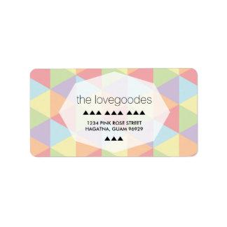 Etiqueta Endereço geométrico do casamento do arco-íris