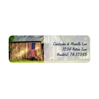 Etiqueta Endereço patriótico da bandeira americana do