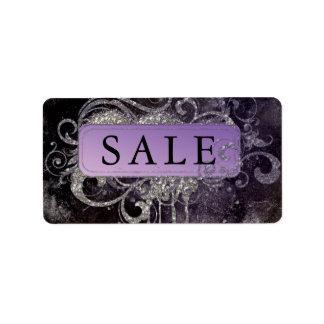Etiqueta Endereço roxo da venda do preto do salão de beleza