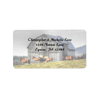 Etiqueta Endereço rústico do celeiro e dos cavalos do país