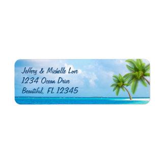 Etiqueta Endereço tropical da praia das palmeiras