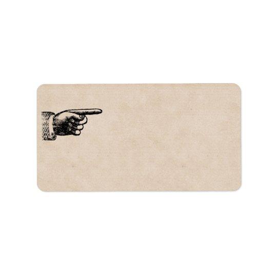 Etiqueta Endereço vazio engraçado da mão | Tan do vintage