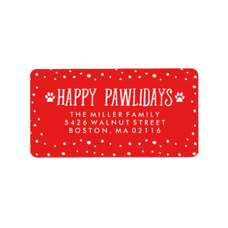 Etiqueta Endereço vermelho feliz do feriado de Pawlidays  