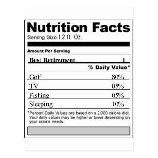 Etiqueta engraçada da nutrição da aposentadoria cartão postal