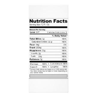 Etiqueta engraçada da nutrição do doce do casament 10.16 x 22.86cm panfleto