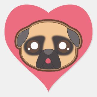 Etiqueta engraçada do coração do pug de Kawaii