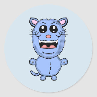Etiqueta engraçada do gato azul dos desenhos