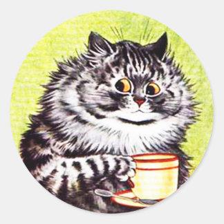 Etiqueta engraçada do gato do vintage, gatos de