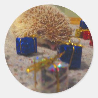 Etiqueta engraçada do ouriço do papel de embrulho