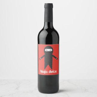 Etiqueta engraçada do vinho do suco de Ninja