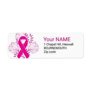 Etiqueta Esboço cor-de-rosa da flor da fita da consciência