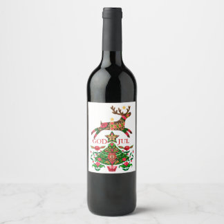 Etiqueta escandinava do vinho do Natal