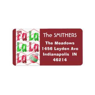 Etiqueta Escova vermelha & verde de FaLaLa da aguarela,