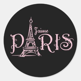 Etiqueta (escura) de J'aime Paris Adesivo Redondo