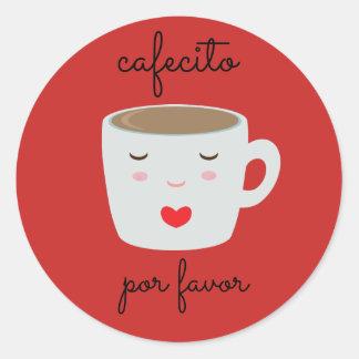 """Etiqueta espanhola de """"Cafecito"""" com copo de café"""