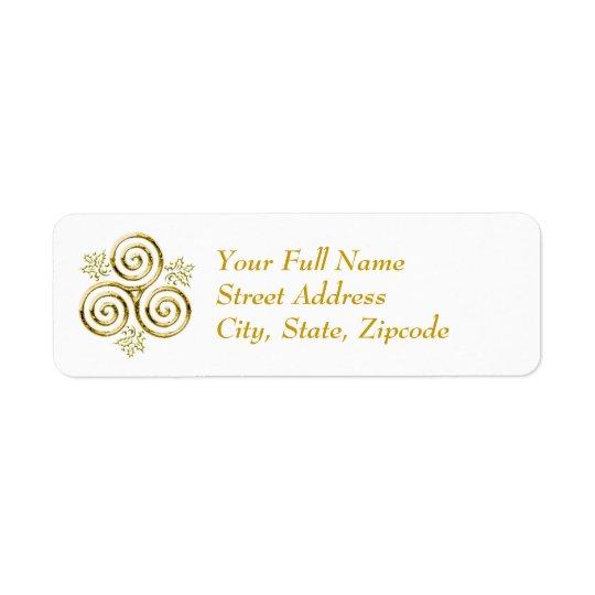 Etiqueta Espiral tripla do ouro & folhas do azevinho -
