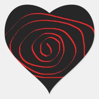 Etiqueta espiral vermelha do coração