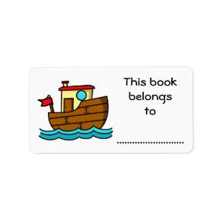 Etiqueta Este livro pertence a, barco dos desenhos animados