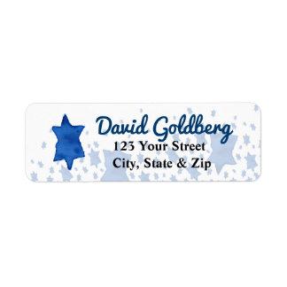 Etiqueta Estrela de David azul da aguarela
