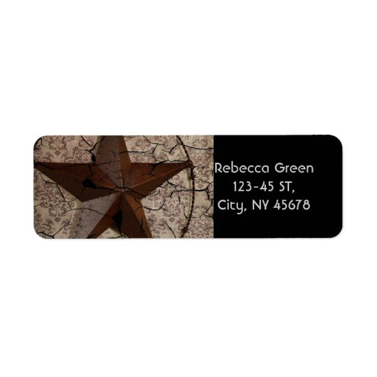 Etiqueta Estrela de Texas primitiva rústica do país
