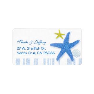 Etiqueta Estrela do mar azul grande + Listras que Wedding