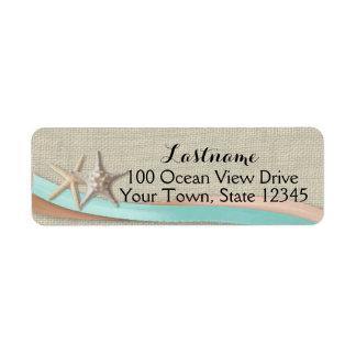 Etiqueta Estrela do mar e Aqua e pêssego da fita