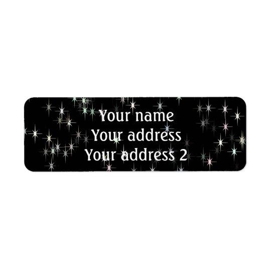 Etiqueta Estrelas pastel coloridos/fundo preto