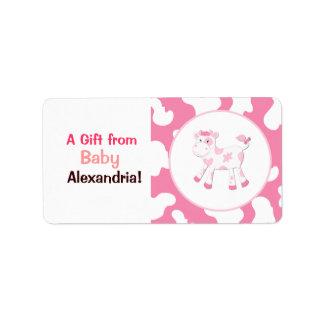 Etiqueta Etiquetas/etiquetas cor-de-rosa do costume da