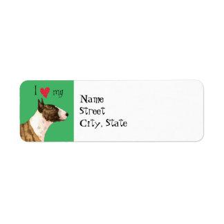 Etiqueta Eu amo meu mini bull terrier