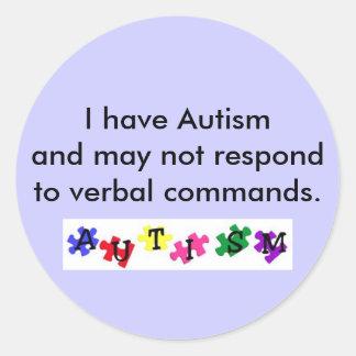 etiqueta, eu estou com o autismo e não posso resp… adesivo em formato redondo