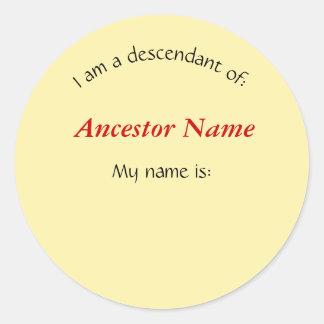 Etiqueta - eu sou um descendente de…