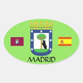Etiqueta Euro--Oval da crista da espanha de Madrid Adesivo Oval