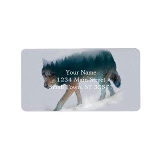 Etiqueta Exposição dobro do lobo - floresta do lobo - lobo