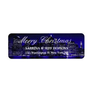 Etiqueta Família azul da mensagem do Feliz Natal da Nova