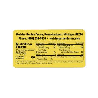 Etiqueta Fatos da nutrição do mel & informação do negócio