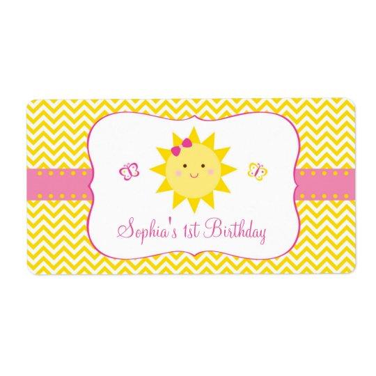 Etiqueta Favor bonito do aniversário da luz do sol