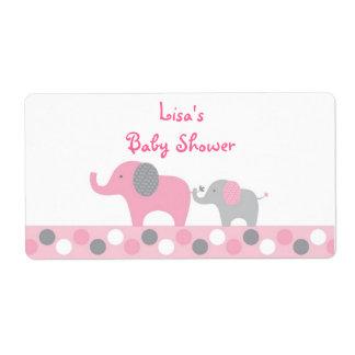 Etiqueta Favor cor-de-rosa do chá de fraldas do elefante