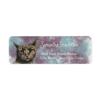 Etiqueta Feche acima do desenho realístico do gato de gato