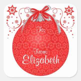 Etiqueta feita sob encomenda do presente da bola adesivo quadrado