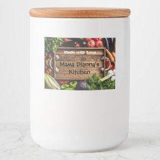 Etiqueta feita sob encomenda vegetal da comida