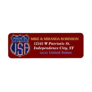 Etiqueta Feito nos EUA 4ns do logotipo americano orgulhoso