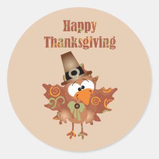 Etiqueta feliz da acção de graças com Turquia