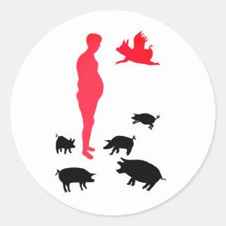 Etiqueta feliz de Vegeterian da refeição a fazenda