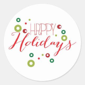 Etiqueta feliz do círculo do feriado