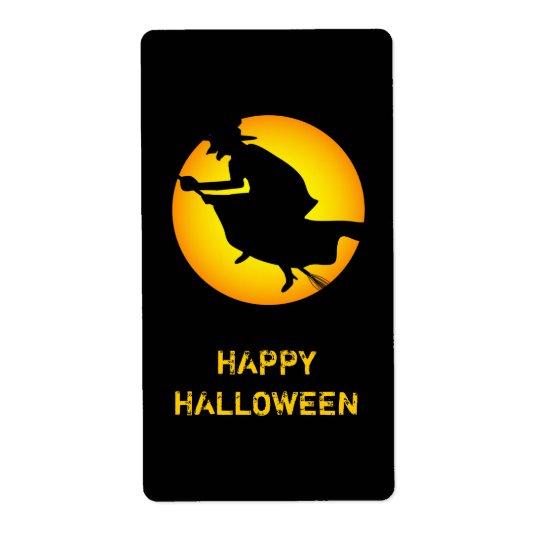 Etiqueta feliz do Dia das Bruxas da bruxa do Dia