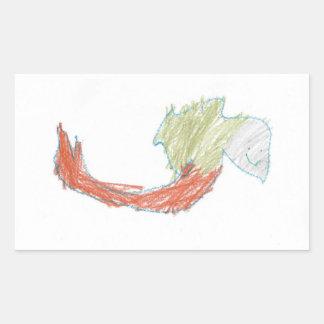 Etiqueta feliz do Doodle da sereia