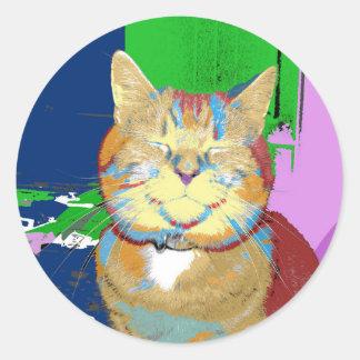 etiqueta feliz do gato do pop art