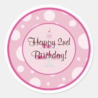 Etiqueta feliz do segundo aniversário adesivo